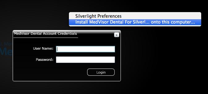 Install MedVisor dental for Silverlightをクリック